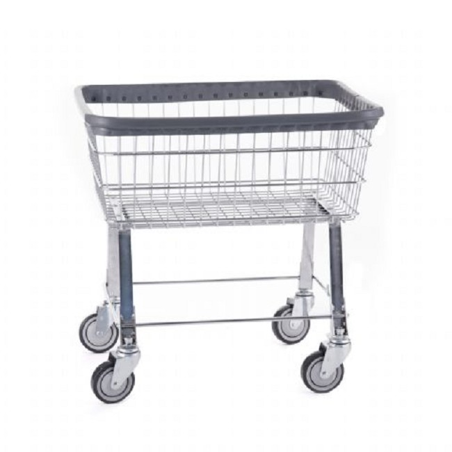 Economy Chrome Wire Commercial Laundry Cart with Wheels