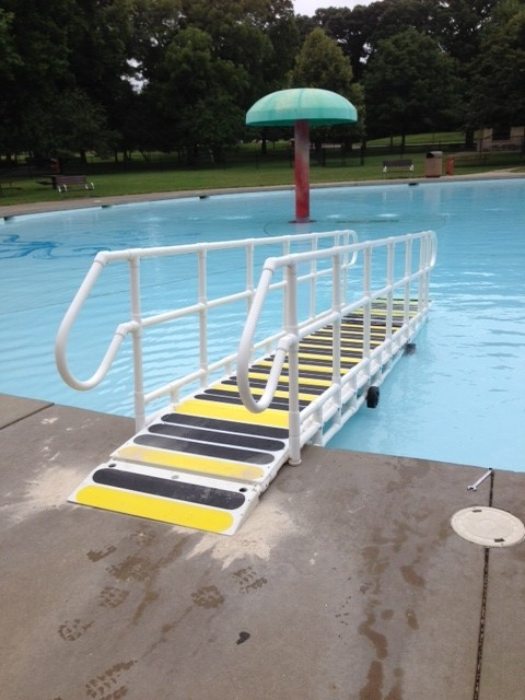 Pool ramps pool steps swimming pools above ground pool ada compliant water access - Above ground pool steps for handicap ...