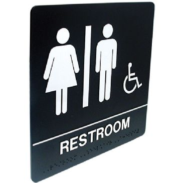 Tactile braille sign for men 39 s restrooms tactile and for Unisex handicap bathroom sign