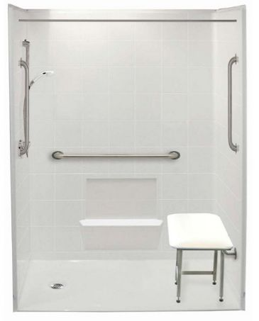 ADA Compliant Shower Base Wheelchair Accessible Bathroom
