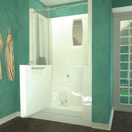 Dove Walk In Bathtub With Shower Stall Enclosure Walk In Bathtubs
