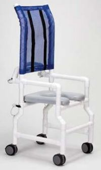 PVC High Back Folding Shower/Commode Chair