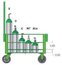 DE-24 Heavy Duty Cylinder Cart with 6 inch Casters