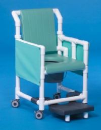 Deluxe Shower Chair Commode with Backrest and Closed Soft Seat