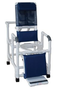 Reclining Shower Chair With Sliding Footrest And Deluxe Elongated Open Front Seat