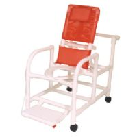 Echo Reclining Shower Chair with Deluxe Elongated Open Front Seat and Folding Footrest