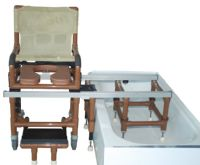 Wood Tone Dual Shower Transfer Chair