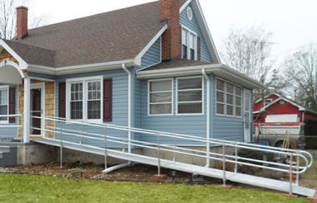 National ramp silver aluminum modular wheelchair ramps for Ada mobile homes