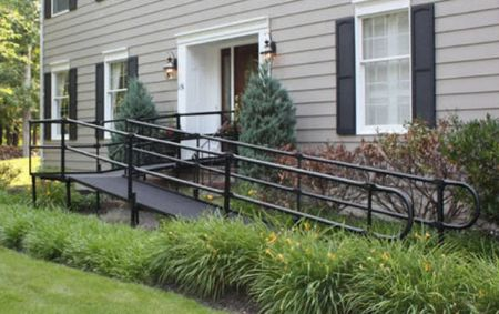 Ada compliant steel modular wheelchair ramp by national ramp for Prefab wheelchair ramp